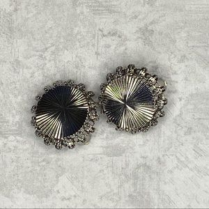 Vintage Silver Tone Burst Clip On Earrings